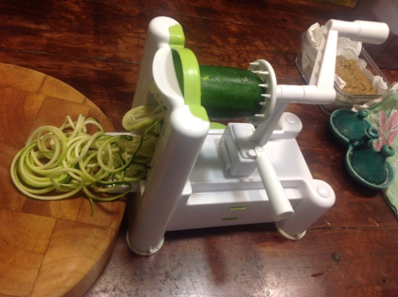 My spiraliser in action, making short work of a zucchini.